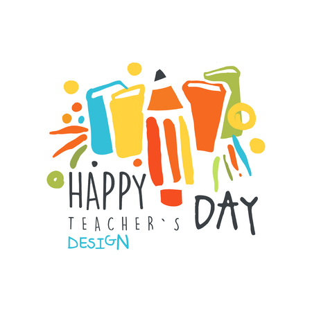 Happy teachers day original design for greeting card vector illustration. Ilustração