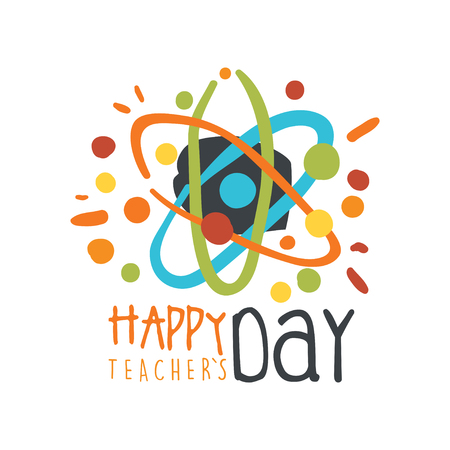 Happy Teachers Day greeting card with atom vector illustration.