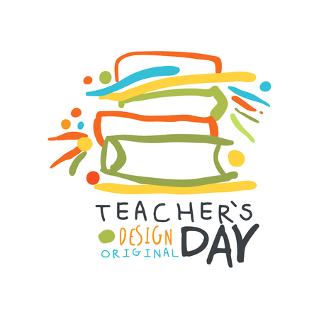 Happy Teachers Day greeting card with educational books vector illustration.