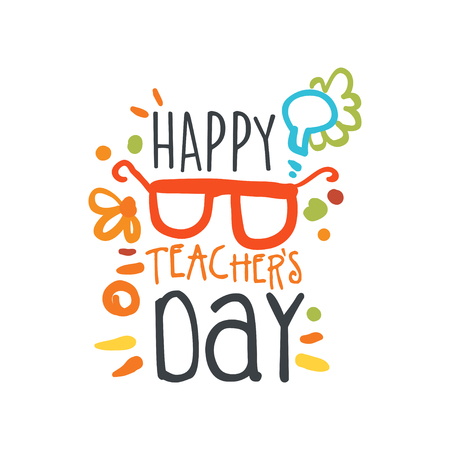 Happy Teachers Day abstract greeting card with glasses vector illustration.