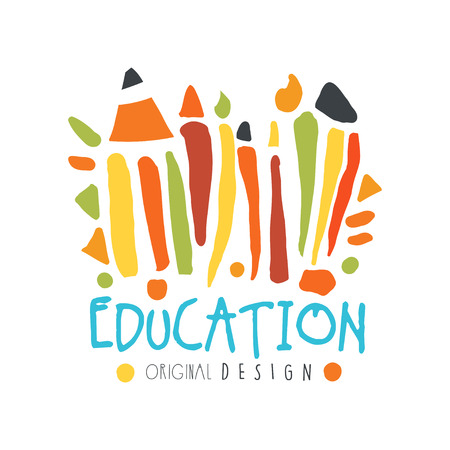 Abstract education day label concept with school supplies vector illustration.