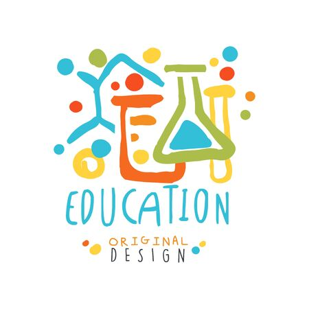 Abstract educational label with chemical test tubes and flasks vector illustration.