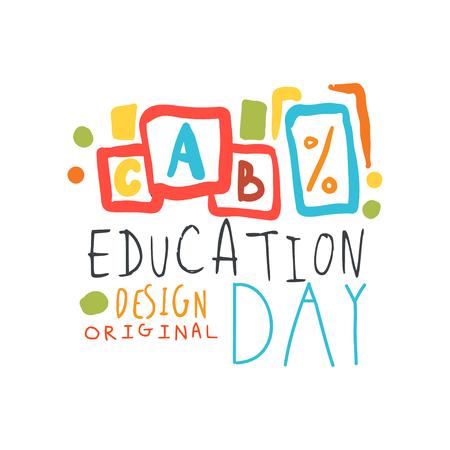 Education label original design with cubes alphabet vector illustration. Çizim