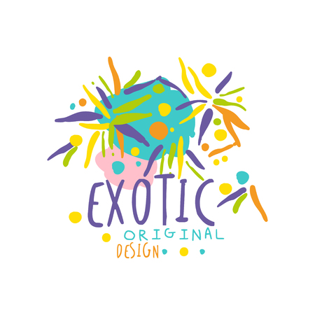 Colorful hand drawn exotic logo for travel service vector illustration.