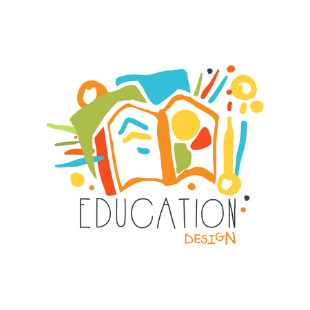 Education label design concept with educational supplies vector illustration.