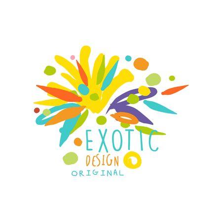 Original hand-drawn exotic logo template vector illustration.