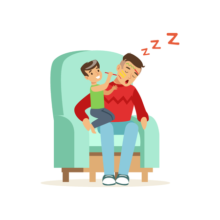 Boy paints on his sleeping dad face vector illustration.