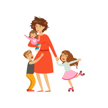 Tired mother with crazy hair and her three kids in cartoon style vector illustration.