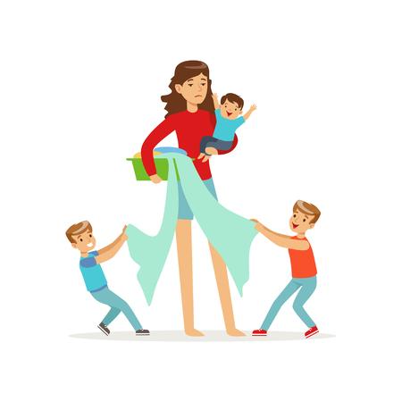 Karikaturillustration der Mutter und drei ungehorsamer Söhne vector Illustration. Standard-Bild - 90104320