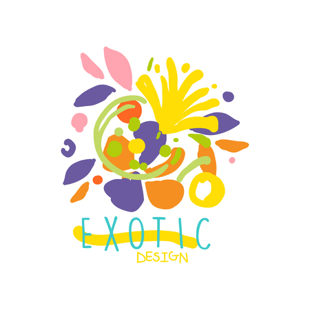 Creatief ontwerp voor exotische bloemenwinkel logo vectorillustratie.