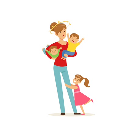 Young mother with stars spinning around her head and three little kids vector illustration.