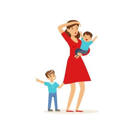 Beeldverhaalillustratie van vermoeide moeder en haar zonen vectorillustratie.