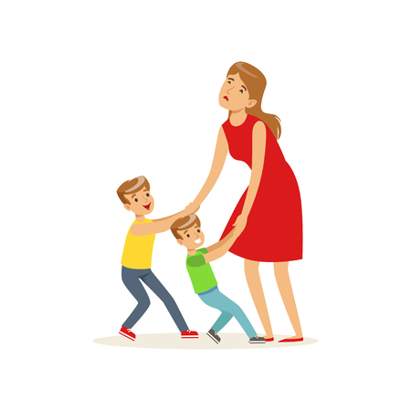 Kinderen slepen hun uitgeputte moeder om vectorillustratie te spelen. Stock Illustratie