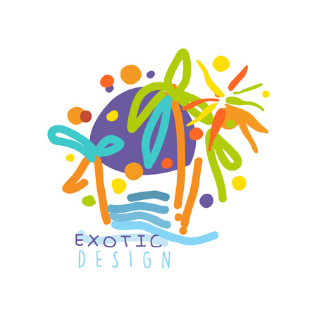 Logo for a travel agency with exotic sightseeing tours vector illustration.