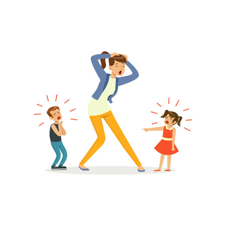 Illustration of screaming children and crying mother vector illustration.