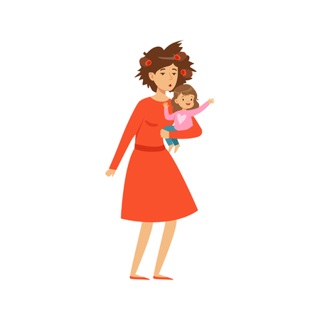 Mother with disheveled hair holding her little daughter vector illustration.