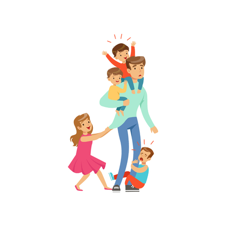 Cartoon exhausted father with his four little naughty kids vector illustration. Иллюстрация