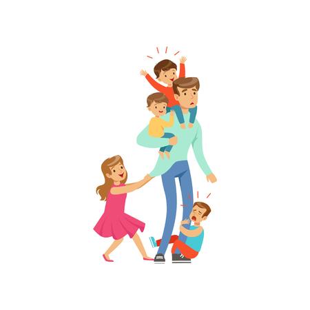 Cartoon uitgeputte vader met zijn vier kleine ondeugende kinderen vectorillustratie.