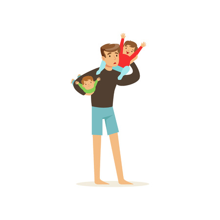 Exhausted father holding two little cheerful kids vector illustration.