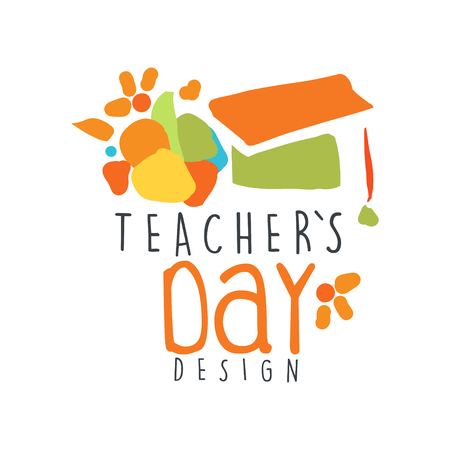 Happy Teachers Day label concept with graduate cap vector illustration.