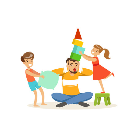 Terrified dad and his hyperactive kids vector illustration.