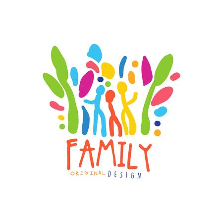 Modèle de conception familiale heureux coloré
