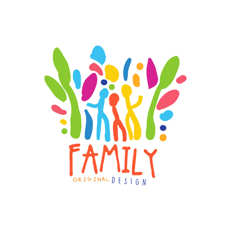 Colorful happy family   design template Illustration