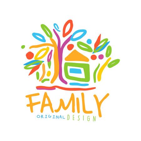 Kleurrijk voor familiebedrijf met huis en bomen
