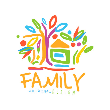 Colorful  for family business with house and trees