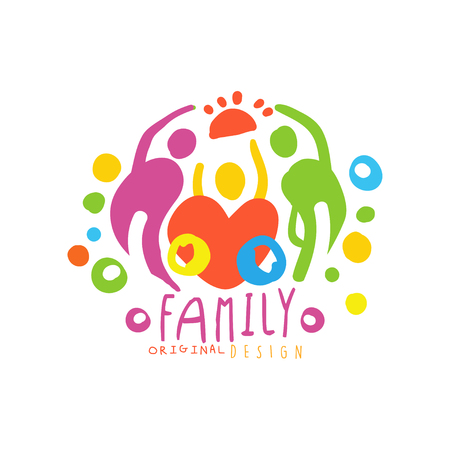 Original  design with happy family and big heart