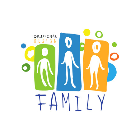 Colorful family  design with abstract people 向量圖像