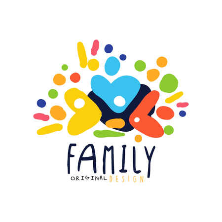 Abstract colorful family design template