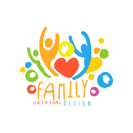 Multicolored happy family  design with simple shapes