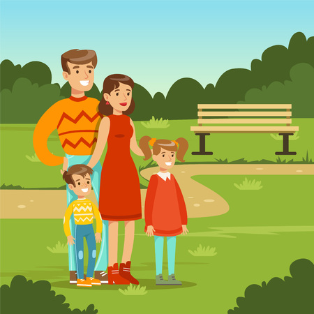 to spend the summer: Happy young family spending time in city park