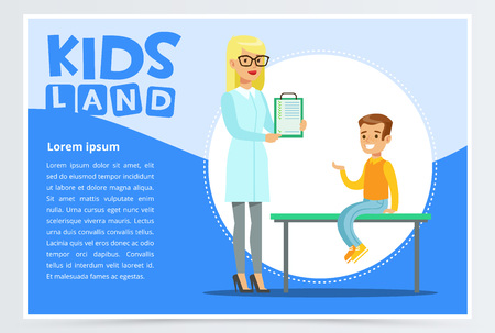 Boy talking with doctor about symptoms of his disease Illustration