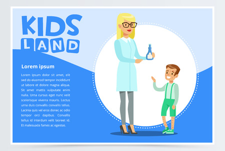 Boy with rash visiting family doctor in clinic Illustration