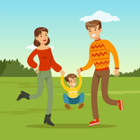 to spend the summer: Happy young father and mother spending time with son Illustration