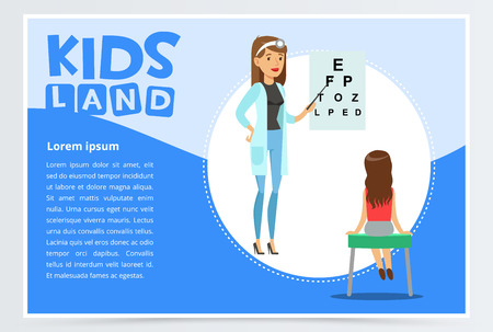 Woman oculist checks boy s eyesight Illustration