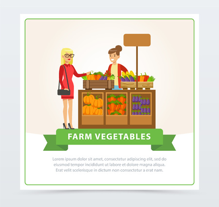 Farm vegetables street shop with farmer and buyer Illustration