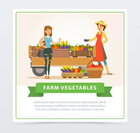 Farm vegetables street shop with farmer and buyer Çizim