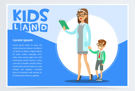 Woman therapist and boy walking to do physical examination. Family doctor. Cartoon character of pediatrician and little patient. Medical treatment and healthcare. Vector illustration in flat style.
