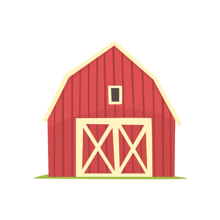Red barn, wooden agricultural building with closed doors cartoon vector Illustration