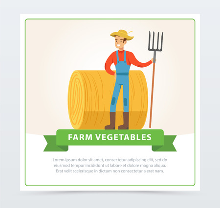 Smiling farmer man in overalls stands with a pitchfork in his hand in front of a haystack. Local farmer. Organic eco food. Farmer and gardener agriculture concept. Vector flat cartoon man character.