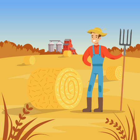 Farmer man standing with pitchfork near of hay bale, agriculture and farming, rural landscape vector Illustration Illustration