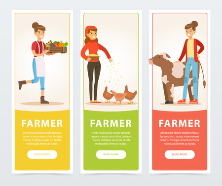 Farmers with farm vegetables and rural cow and chicken