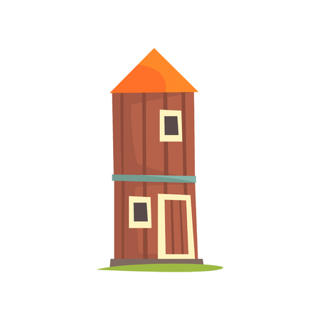 Red agricultural tower, cilo, wooden farm building cartoon vector Illustration on a white background