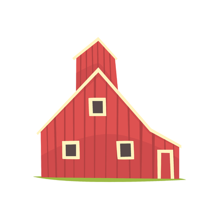 Red barn house, wooden agricultural building cartoon vector Illustration on a white background