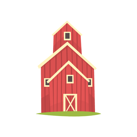 Red barn, wooden agricultural building cartoon vector Illustration on a white background