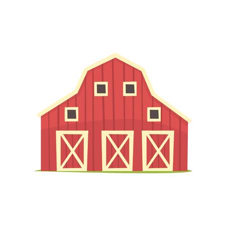 빨간색 축사, 목조 농업 건물 만화 벡터 일러스트 흰색 배경에