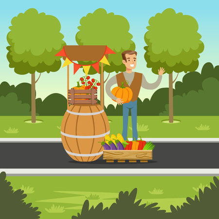 man made: Cheerful farmer man selling vegetables at the counter made of wooden barrel with pumpkin in his hands, local market, agriculture and farming, vector Illustration, web banner